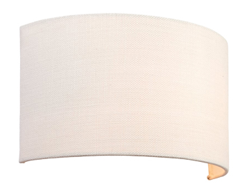 Endon Obi 1 Light Wall Light, Vintage White Linen Finish - 70334