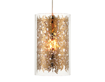 Endon Lacy 1 Light Ceiling Pendant, Clear Glass & Brass Finish - 70341