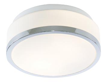 Searchlight Discs Flush Bathroom Ceiling Light Chrome Finish With Trim Opal Glass Diffuser