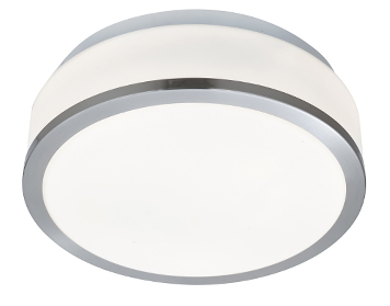 Searchlight Discs Flush Bathroom Ceiling Light, Satin Silver Finish With Chrome Trim & Opal Glass Diffuser - 7039-23SS