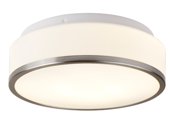Searchlight Discs Flush Bathroom Ceiling Light, Satin Silver Finish With Chrome Trim & Opal Glass Diffuser - 7039-28SS