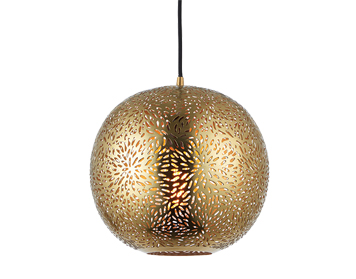 Endon Javarone 1 Light Ceiling Pendant, Brass Finish - 70395