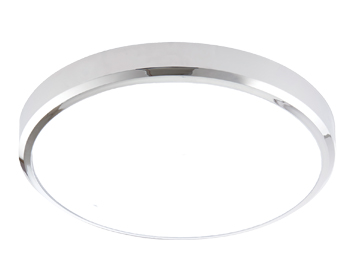 Endon Cobra XS Round Flush Bathroom Ceiling Light, Opal PC & Chrome Effect ABS Plastic Finish - 70450