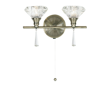 Oaks Lighting Sahar Twin Wall Light, Antique Brass Finish With Crystal Sconces - 7049/2 AB