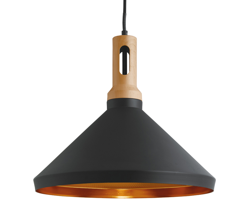 Searchlight Cone 1 Light Ceiling Pendant Black Finish Shade With Gold Inner