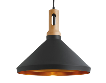 Searchlight Cone 1 Light Ceiling Pendant Light, Black Finish Shade With Gold Inner - 7051BK