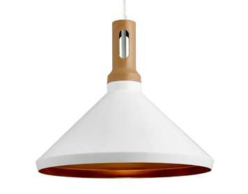 Searchlight Cone 1 Light Ceiling Pendant Light, White Finish Shade With Gold Inner - 7051WH