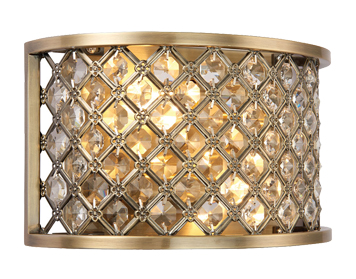 Endon Hudson 2 Light Wall Light, Antique Brass Finish With Clear Crystal Glass - 70559