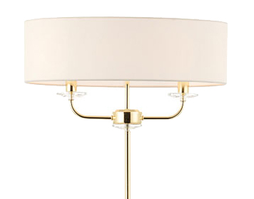 Endon Nixon 2 Light Floor Light, Brass Finish With Crystal Glass & Vintage White Faux Silk Shade - 70563