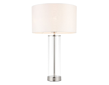 Endon Lessina 1 Light Touch Table Lamp, Brushed Gold Finish With Vintage White Faux Silk Shade - 70600