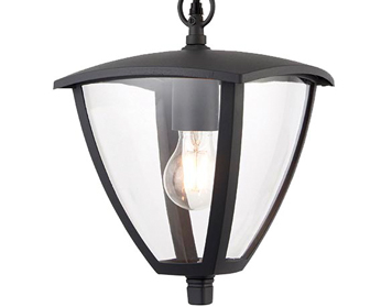Endon Seraph 1 Light Pendant, Textured Grey & Clear Plastic Finish - 70696