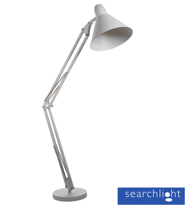 Searchlight 39goliath ii39 1 light angle task floor lamp for Task floor lamp white