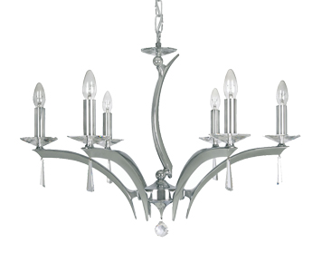 Oaks Lighting Premier Collection Wroxton 6 Light Ceiling Light, Polished Chrome Finish - 708/6 CH
