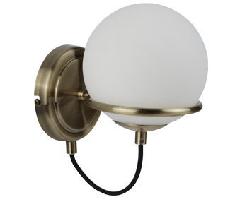 Searchlight Sphere 1 Light Wall Light, Antique Brass Finish - 7091AB