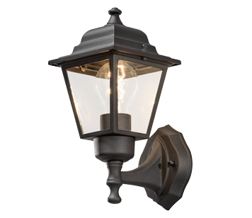 Konstsmide 1 Light Outdoor Wall Lamp, Black Finish With Clear Glass Panels - 7093-750