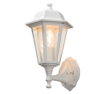 Konstsmide 1 Light Medium Outdoor Wall Lamp, White Finish With Clear Glass Panels - SALE-7094-250