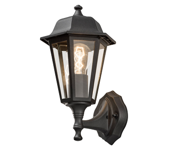 Konstsmide 1 Light Medium Outdoor Wall Lamp, Black Finish With Clear Glass Panels - 7094-750