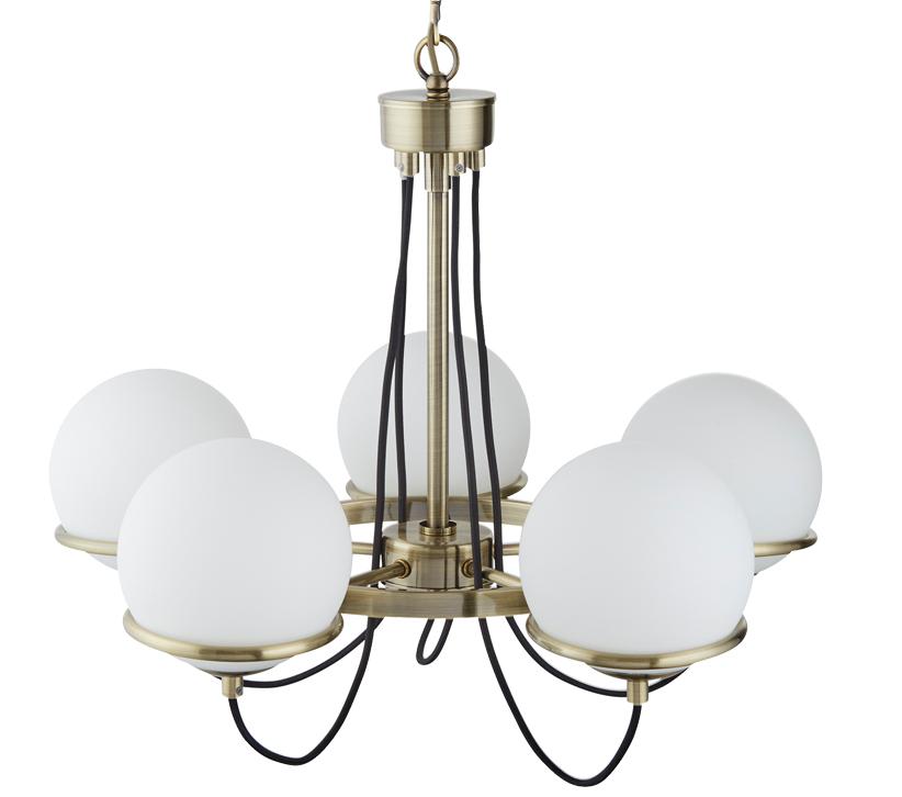 Searchlight Sphere 5 Light Ceiling Light, Antique Brass ...