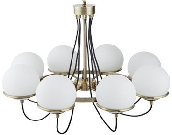 Searchlight Sphere 8 Light Ceiling Light, Antique Brass Finish - 7098-8AB