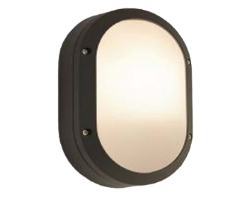 Astro Arta Oval Outdoor Wall Light, Textured Black Finish With Opal Polycarbonate Diffuser - 7124