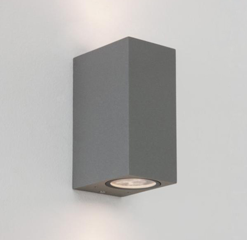 Double Wall Light External : Astro Chios 150 IP44 Outdoor Double Wall Light, Painted Silver - 7127 from Easy Lighting