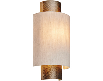 Endon Indara 1 Light Flush Wall Light, Aged Hammered Bronze Effect Plate & Natural Linen Finish - 71308