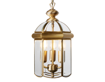 Searchlight 3 Light Pendant Ceiling Light, Antique Brass Finish - 7133AB