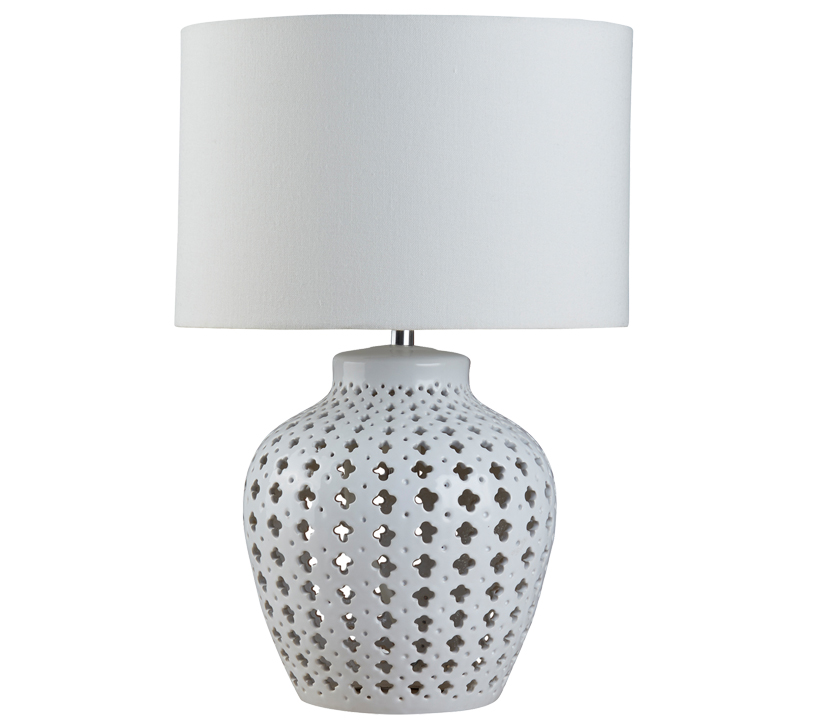 Searchlight crochet 2 light table lamp ceramic fret pattern base white drum shade 7155wh