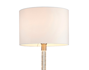 Endon Andromeda Floor Lamp, Satin Chrome & Clear Acrylic Finish With White Cotton Mix Shade - 71620