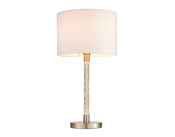 Endon Andromeda Table Lamp, Satin Chrome & Clear Acrylic Finish With White Cotton Mix Shade - 71621