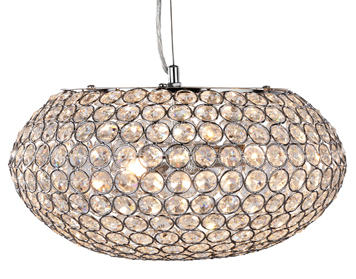Searchlight Chantilly 3 Light Pendant Ceiling Light, Polished Chrome Finish With Clear Crystal Buttons - 7163-3CC
