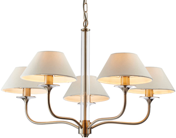 Endon Kingston 5 Light Pendant, Satin Nickel Finish With Clear Glass & Vintage White Faux Linen Shade - 71640