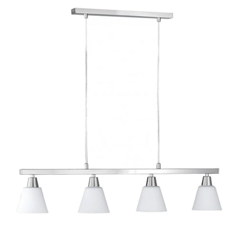 Soho Bar Pendant With 3 Opal White Glass Lights Supended: Wofi Mali 5 Light Ceiling Pendant Light, Matt Nickel