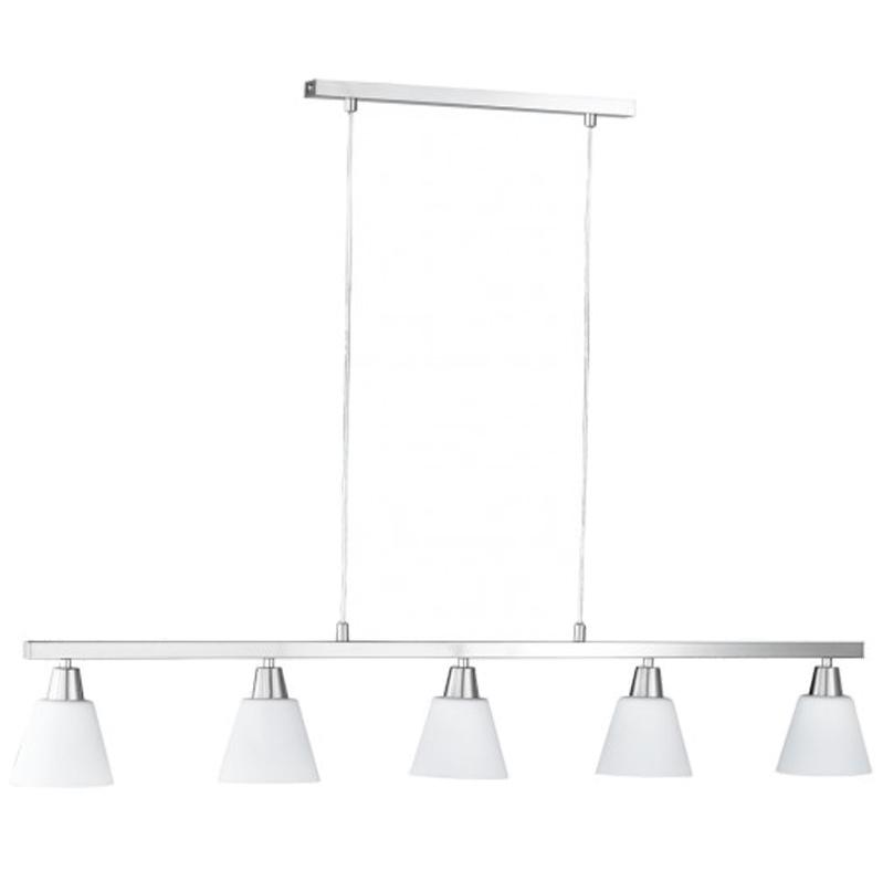 Soho Bar Pendant With 3 Opal White Glass Lights Supended: Wofi Mali 3 Light Ceiling Pendant Light, Matt Nickel