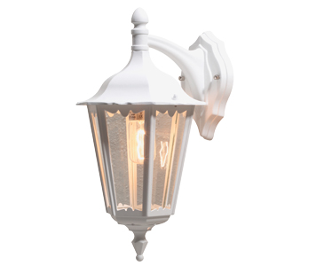 Konstsmide Firenze 1 Light Outdoor Downward Wall Light, White Finish With Clear Glass Panels - 7212-250