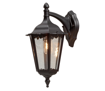 Konstsmide Firenze 1 Light Outdoor Downward Wall Light, Black Finish With Clear Glass Panels - 7212-750