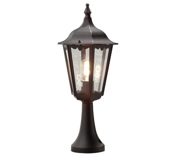 Konstsmide Firenze 1 Light Outdoor Post Light, Black Finish With Clear Glass Panels - 7214-750