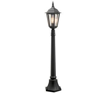 Konstsmide Firenze 1 Light Outdoor Post Light, Black Finish With Clear Glass Panels - 7215-750