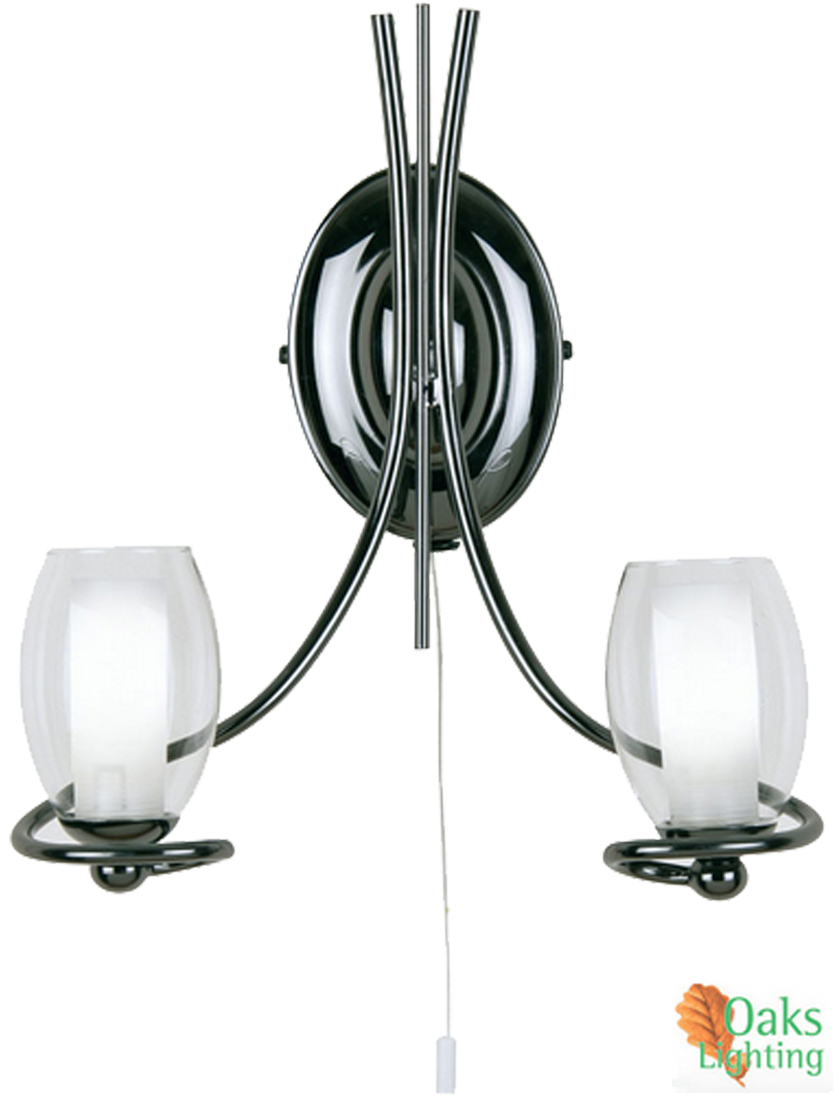 Twin Fixed Wall Lights : Oaks Lighting Nino Twin Wall Light, Mirror Black - 7215/2 MB from Easy Lighting