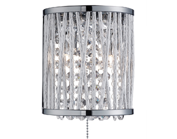 Searchlight Elise 2 Light Switched Wall Light, Chrome Finish With Crystal Drops - 7222-2CC