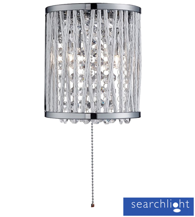 Searchlight Elise 2 Light Wall Light, Chrome With Crystal Drops - 7222-2CC from Easy Lighting