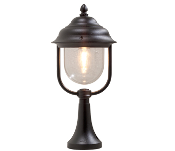 Outdoor pedestal lights from easy lighting konstsmide parma ip43 1 light outdoor pedestal light matt black finish with clear aloadofball Choice Image