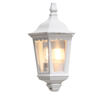 Konstsmide Firenze 1 Light Outdoor Flush Wall Light, White Finish With Clear Glass Panels - 7229-250