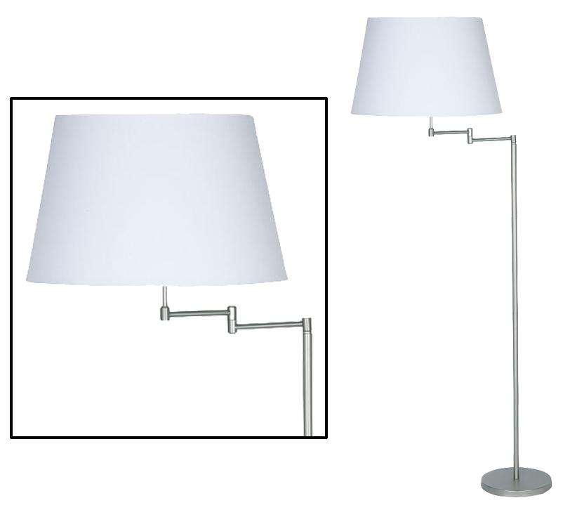 Oaks Lighting Armada Swing Arm Floor Lamp Satin Chrome