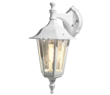 Konstsmide Firenze 1 Light Outdoor Downward Small Wall Light, White Finish With Clear Glass Panels - 7231-250