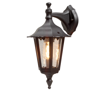 Konstsmide Firenze 1 Light Outdoor Downward Small Wall Light, Black Finish With Clear Glass Panels - 7231-750