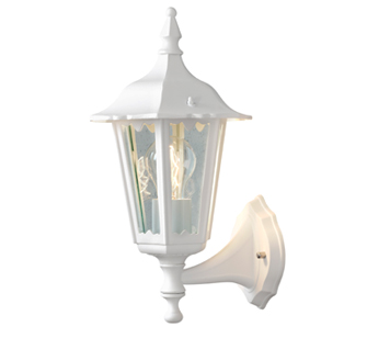Konstsmide Firenze 1 Light Outdoor Upward Small Wall Light, White Finish With Clear Glass Panels - 7232-250