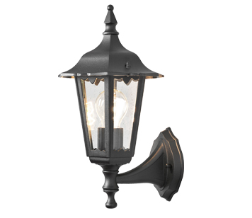 Konstsmide Firenze 1 Light Outdoor Upward Small Wall Light, Black Finish With Clear Glass Panels - 7232-750