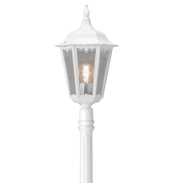 Konstsmide Firenze 1 Light Outdoor Lamp Post, White Finish With Clear Glass Panels - 7233-250