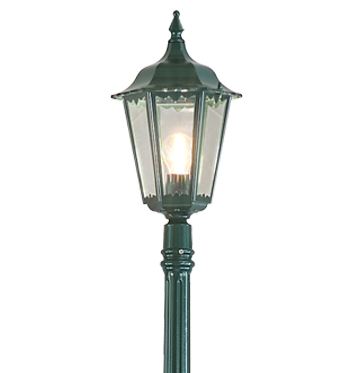 Konstsmide Firenze 1 Light Outdoor Lamp Post, British Racing Green Finish With Clear Glass Panels - 7233-600
